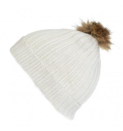 001ZG - Bonnet blanc en laine - Pompon Fauve