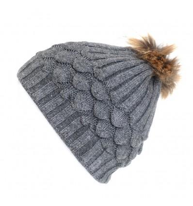 002ZE Bonnet en laine gris à motifs et pompon