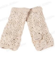 Mitaines en laine doublées polaire - Ecru