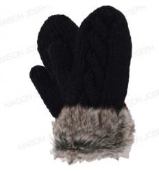 Moufles pure laine - Noir