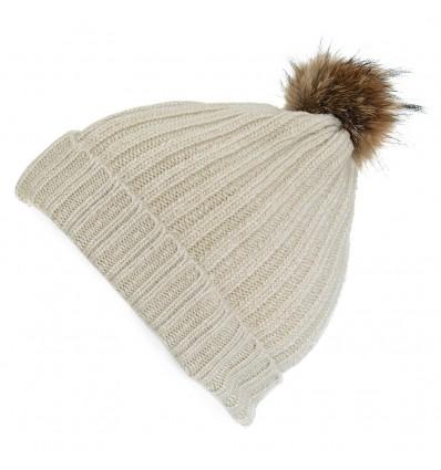 001ZF - Bonnet beige en laine - Pompon Fauve