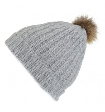 002ZC - Bonnet gris clair en laine - Pompon Fauve