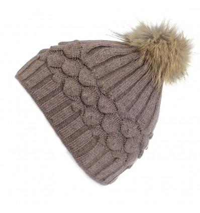 003H - Bonnet en laine marron à motifs et pompon
