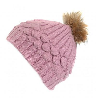 010E - Bonnet en laine rose à motifs et pompon