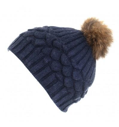 007F - Boonet en laine bleu à motifs et pompon