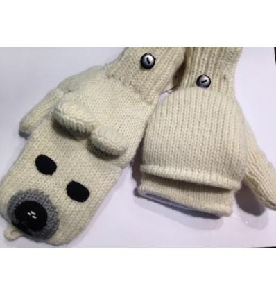 Mitaines en laine doublées polaire - Chien