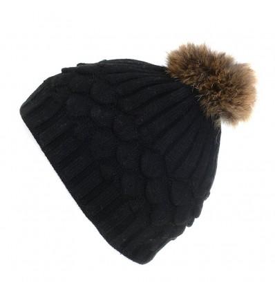 004Y - Bonnet en laine noir et pompon